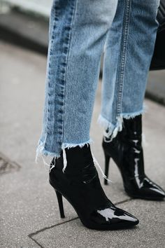 black vinyl plc ankle boots, stepped raw hem frayed jeans Curated: @sommerswim