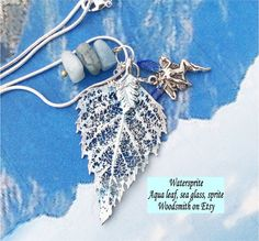 Real Leaf Jewelry,Watersprite leaf necklace, Aqua birch,aquamarine chunks, sprite, silver chain by natures leaves
