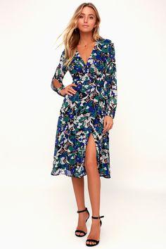 0ddfb1b661d Farrar Black Floral Print Long Sleeve Wrap Midi Dress