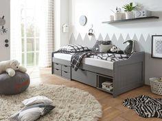 Das Bett Pinea bietet viel praktischen Stauraum.