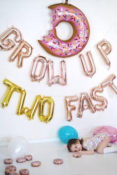 2 Year Old Birthday Party Girl, Second Birthday Ideas, Donut Birthday Parties, Girls Birthday Party Themes, Girl First Birthday, Frozen Birthday, Birthday Banners, Farm Birthday, Party Themes For Kids