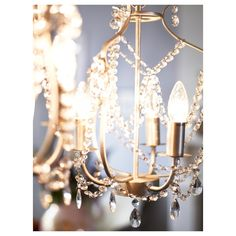 IKEA - KRISTALLER, Chandelier, silver color, glass, The height is easy to adjust by using the S-hook or cutting the chain. Lustre Ikea, Ikea Foto, Ikea Chandelier, Small Chandelier Bedroom, Bedroom Lighting, Chandeliers, Clear Light Bulbs, Hanging Pendants, Led Lampe