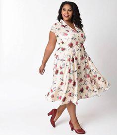 d5122add1a6 Hell Bunny Plus Size Cream   Floral Leah Chiffon Swing Dress