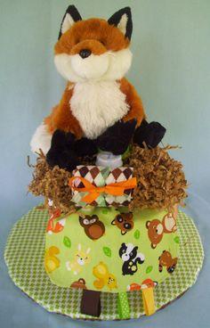 NOW ON SALEWoodland Animals Diaper Cake by babybundlesandmore, $25.00