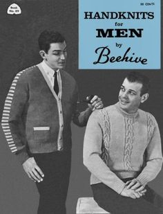 Handknits for Men pullover and cardigan sweaters and vests Vintage Knitting Patterns Book for download