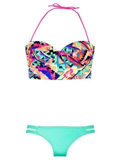 Geometric Print Bikini - Multi-Colored Bikini
