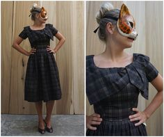 Deadstock Vintage 50's Brown and Black Plaid Day Dress with Oversized Bow Collar by Suzy Perette | Small by AnimalHeadVintage on Etsy