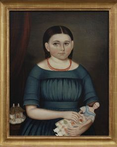 """MARY WILCOX/ Joseph Whiting Stock (1815–1855), Springfield, Massachusetts, 1845, oil on canvas, laid on board, 25 x 20 1/4"""", American Folk Art Museum, museum purchase: 2014.6.2a"""
