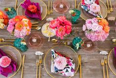 It Was All About the Poppin' Pinks + Springtime Florals at this California Bridal Shower - Green Wedding Shoes - Bright Floral Bridal Shower tablescape colorful - Bridal Shower Decorations, Wedding Decorations, Table Decorations, Bridal Shower Colors, Colorful Wedding Centerpieces, Wedding Table, Wedding Day, Boho Wedding, Decoration Evenementielle