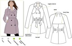 All weather double breasted Trench coat Drill, Gabardine, Linen, Cotton Sateen, Light Wool or any suitable woven jacket fabric 110cm=335cm; 150cm=2.6m