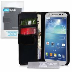 Amazon.com: Samsung Galaxy S4 Case Black PU Leather Wallet Cover: Cell Phones & Accessories