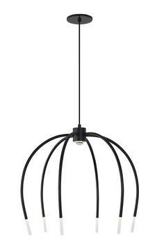 The Tallo 6 chandelier light by LBL Lighting is a soft, contemporary take on a traditional chandelier. Inspired by a waterfall, the graceful curving arms flow downward and are finished with an LED illuminated acrylic tip to accent the central LED module shining down from the crown. In a Black Matte Finish with a Black Cloth Cord.