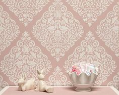 Vintage Lace Bird Wall Stencil for Allover by royaldesignstencils