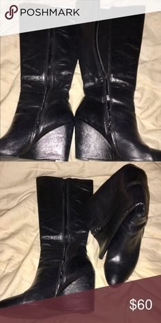 Boots Black leather, wedge heel, NWOT Marc Fisher Shoes Heeled Boots