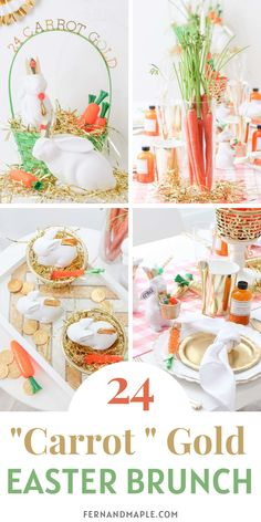 "This 24 ""Carrot"" Gold Easter Brunch is the perfect combination of cute and glamorous and great for adults or kids! Get backdrop, place setting, favor ideas and more now at fernandmaple.com!"