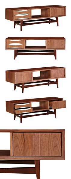 Organize your entertainment system in this stunning Cosgrove Media Unit. With its sleek solid walnut wood base and clean construction, this piece offers a modern take on a chic mid-century design. This...  Find the Cosgrove Media Unit, as seen in the Mid-Century Modern Ski Trip Collection at http://dotandbo.com/collections/mid-century-modern-ski-trip?utm_source=pinterest&utm_medium=organic&db_sku=115629
