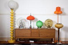 Nuno Carvalho's Vintage Lamp Collection (and ashtray lamp!) -Doria XXL Sputnik Tablelamp - (Amber Color) Peil & Putzler Table Lamp - Green Art Deco Table Lamp - Via