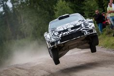 Jari-Matti Latvala gets some big air as he test drives the 2017 VW Polo R ahead of Rally Finland.