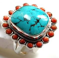 Turquoise & coral Gemstone Ring With 925 Sterling Silver