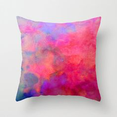 Pink Orange and Blue Watercolor Pillow Throw by SABartStudio Accent Pillows, Throw Pillows, Pink Accents, Scatter Cushions, New Living Room, Pillow Talk, Fabric Painting, House Colors, Color Splash