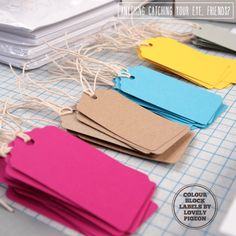 Colorful gift tags by Lovely Pigeon