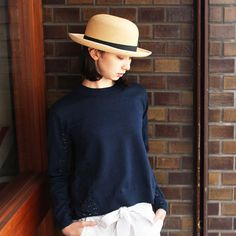 YMC (WOMEN) & CHRISTY'S - PANAMA HAT(NAVY)/ワイエムシー・レディース