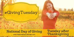 National Day of Giving encourages giving back on the Tuesday after Thanksgiving. Take advantage of holiday deals and give back to those in need. National Day Holiday, National Days, National Holidays, Liberation Day, National Day Calendar, World Aids Day, Giving Tuesday, Days And Months, What Day Is It