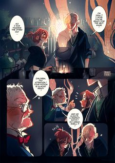 Amortentia, a Scorpius / Rose comic : Page I Oh, what is it ?! The first page of my new Scorose comic ??? NO WAYYY ! I know it took me a long time to do it, but I'm quite happy with the way it turned out ! What do you guys think ? I dedicate this one to viria, since she loves the pairing as well and is nice enough to put up with my crazy rambling ! I hope you'll like it ;)