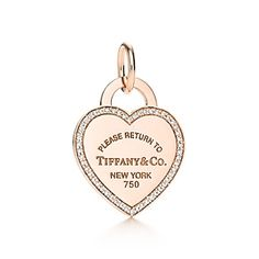 Return to Tiffany™ heart tag charm in 18k rose gold and diamonds.