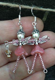 Whimsical Angel FAIRY Faerie Beaded EARRINGS: by TwinklingOfAnEye