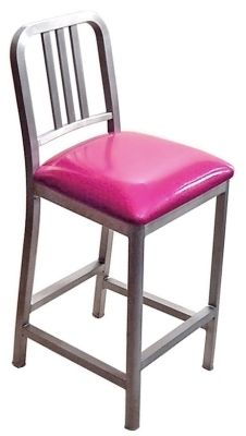 DecoDina Aluminum Counter Height Stool With Upholstered Seat