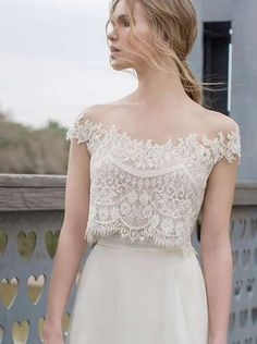 Two Piece BOHO Wedding Dresses Lace Appliques Bodice Illusion Neckline Chiffon A Line Romantic Bohemian Bridal Dresses 2015 Summer Two Piece Wedding Dress, Lace Wedding Dress, 2015 Wedding Dresses, Bohemian Wedding Dresses, Bohemian Bridesmaid, Lace Dress, Bridal Outfits, Bridal Dresses, Crop Dress
