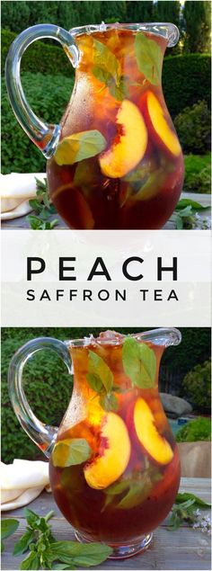 Skin Iced Saffron Tea Recipe with Peach and Basil Healthy Skin Saffron Peach Iced Tea with Basil and Honey Refreshing Drinks, Summer Drinks, Cold Drinks, Fun Drinks, Healthy Drinks, Beverages, Healthy Food, Smoothies, Smoothie Drinks