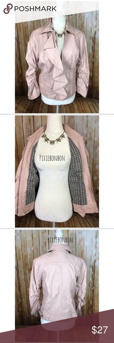 Pink ruffle ruched vegan leather jacket So cute!!! Vegan leather dusty pink zip up faux leather jacket. In very good condition. Sweet floral/flower lining.  As seen on size 2 mannequin. Jolt Jackets & Coats