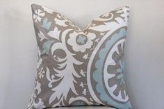 Suzani Decorative Throw Pillow - Cushion Covers - 16 x 16, 18 x 18, 20 x 20 Tan and Powder Blue Suzani