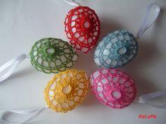Háčkovaná velikonoční vajíčka - vzor č.3