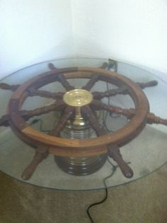 Ship 39 S Wheel Coffee Table Made By A Very Talented Friend Paul Finch Custom Wood Design Ships