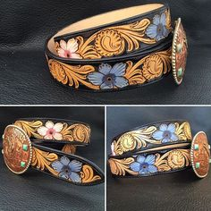 Black two toned with purple and pink flowers. #TannerCustomLeather #tannermade #tannerbeltdesign #custommade #belt