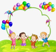 """""""Kids"""": """"Joy at the party"""" Page Borders, Borders And Frames, Boarder Designs, Birthday Charts, School Frame, Kids Background, School Labels, Happy Children's Day, School Clipart"""