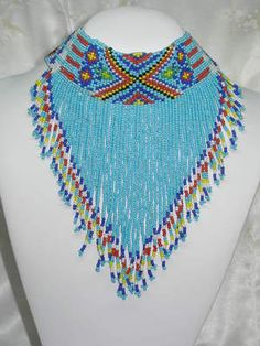 Stunning Native American Style Beaded Bib Necklace and Earrings Demi | eBay