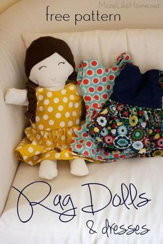Rag Doll Tutorial Rag Doll Pattern and Tutorial that is perfect for Easter Baskets! Try making a special Easter dress, or roll the outfits up and put them in large Easter eggs to help fill the basket. Doll Patterns Free, Doll Dress Patterns, Doll Sewing Patterns, Sewing Dolls, Free Pattern, Fabric Doll Pattern, Softie Pattern, Fabric Toys, Fabric Crafts