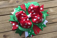 Large Christmas Boutique Hair Bow , Red White and Green glitter Hair Bow , Over the top Christmas Hair Bow , Holiday Hair Bow Swiss dot White Hair Bows, Pink Hair Bows, Glitter Hair, Green Glitter, Christmas Hair Bows, Christmas Glitter, Knitted Pouf, Handmade Hair Bows, Holiday Hairstyles