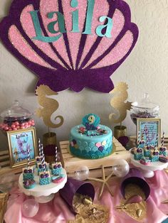 Baby birthday party decoration Ideas for 2019 Mermaid Birthday Cakes, Little Mermaid Birthday, Little Mermaid Parties, Baby Birthday, 1st Birthday Party Decorations, Mermaid Party Decorations, 1st Birthday Parties, Birthday Ideas, Birthday Celebration