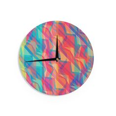 Kess InHouse Miranda Mol 'Triangle Opticals' Pink Multicolor Wall Clock (Triangle Opticals), Multi (Wood)