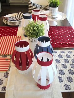 Fourth of July Tablescape - I like the paper lanterns Paper Lantern Centerpieces, Paper Lanterns, Paper Lantern Making, Canada Day Crafts, Canada Day Party, Memorial Day Decorations, 4th Of July Celebration, And July, Paper Crafts Origami