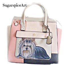 Yorkie Hand Painted Tote Purse Shoulder bag Handbag Dog Art SugarspiceArt