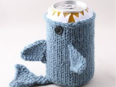 Knitted shark beer cozy