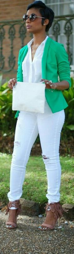 White distressed jeans, Fringe sandals, Bright green blazer
