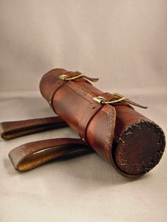 Brown horizontal Leather Scroll Case / Holster / Tube