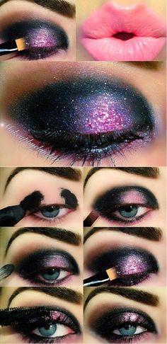 Dark And Intense Pink Makeup Tutorial (2)
